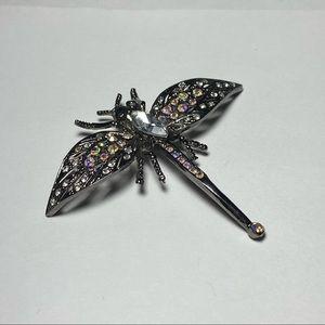 💥3 for $25💥 Vintage Silvertoned Dragonfly Brooch w Rhinestones